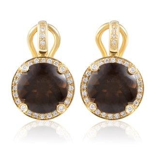 Poiray 'Girls' 18k Yellow Gold Diamond and Smokey Quartz Earrings