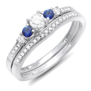 Elora 14k White Gold 1/2ct TDW Round Blue Sapphire and White Diamond 5-stone Bridal Set (H-I, I1-I2)