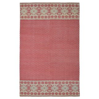 Hand-knotted Nordic Scandinavian Red Wool Rug (5' x 8')