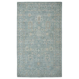 Hand-knotted Oushak Turkish Sage/ Beige Wool Rug (5' x 8')