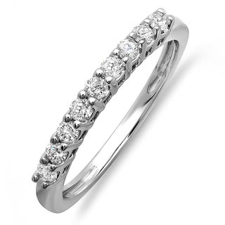 14k White Gold 1/3ct TDW Round Diamond Anniversary Ring Wedding Matching Band Guard (H-I, I1-I2)