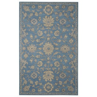Hand-tufted Persian Oushak Blue Wool Rug (5' x 8')
