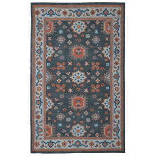 Hand-knotted Serapi Black/ Rust Wool Rug (5' x 8')