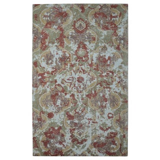 Hand-loomed Barret Printed Hand-tufted Moroccan Damask Rust Wool Rug (5' x 8')