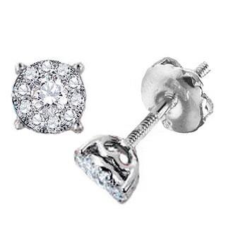 14k White Gold 3/4ct TDW Round Diamond Cluster Stud Earrings (H-I, I1-I2)