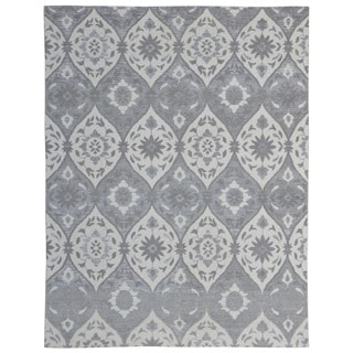 Hand-knotted Trendy Silky Moroccan Turkish Grey/ Ivory Wool and Silkette Rug (8' x 10')