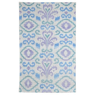 Hand-knotted Turkish Blue/ Purple Ikat Bamboo Silk Rug (5' x 8')