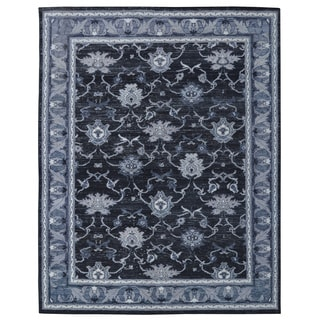 Hand-knotted Oushak Turkish Black/ Grey Wool and Silkette Rug (8' x 10')