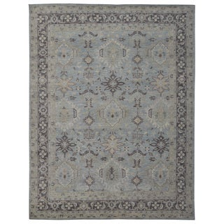 Hand-knotted Oushak Turkish Grey/ Charcoal Wool and Silkette Rug (8' x 10')