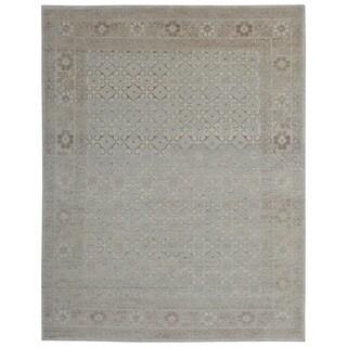 Hand-knotted Erase Broken Motif Rangkata Ivory/ Beige Turkish Knot Wool and Silkette Rug (8' x 10')
