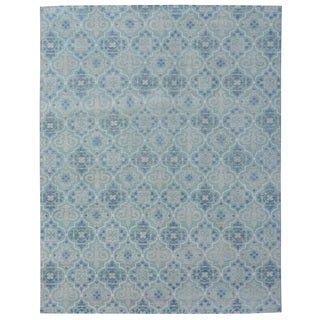 Hand-knotted Trendy Silky Moroccan Trellis Turkish Blue Wool and Silkette Rug (8' x 10')