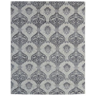 Hand-knotted Trendy Silky Moroccan Turkish Ivory Wool and Silkette Rug (8' x 10')