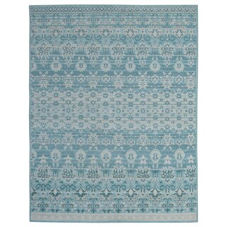 Hand-knotted Trendy Silky Floral Turkish Blue Wool and Silkette Floral Rug (8' x 10')