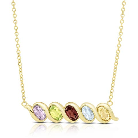 Dolce Giavonna Gold Over Sterling Silver Oval Gemstone Five Stone Necklace