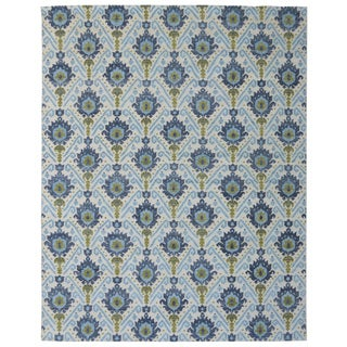 Hand-knotted Trendy Silky Peacock Turkish Blue/ Green Wool and Silkette Rug (8' x 10')
