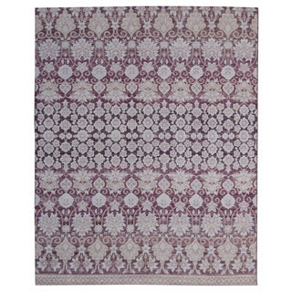 Hand-knotted Trendy Silky Floral Turkish Purple Wool and Silkette Rug (8' x 10')