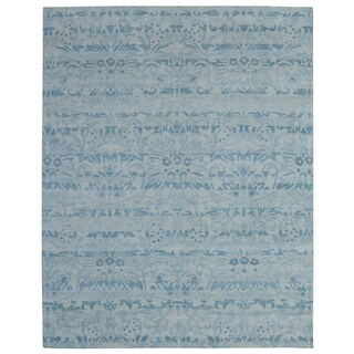 Hand-knotted Trendy Silky Floral Turkish Blue Wool and Silkette Rug (8' x 10')