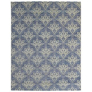 Hand-knotted Trendy Silky Moroccan Turkish Blue Wool and Silkette Rug (8' x 10')