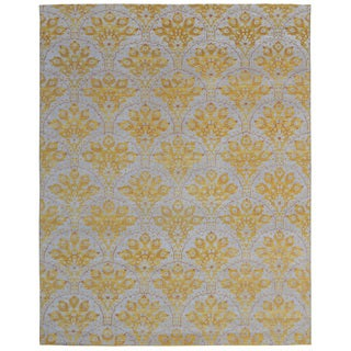 Hand-knotted Trendy Silky Moroccan Turkish Sunrise Yellow Wool and Silkette Rug (8' x 10')