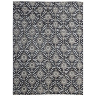 Hand-knotted Trendy Silky Peacock Turkish Charcoal/ Wool and Silkette Rug (8' x 10')