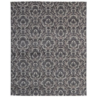 Hand-knotted Trendy Silky Clouds Turkish Charcoal/ Wool and Silkette Rug (8' x 10')