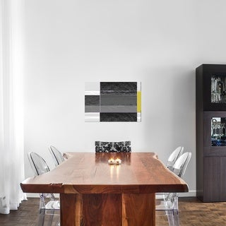Naxart Studio 'Abstract Grey And Yellow' Stretched Canvas Wall Art