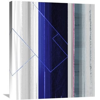 Naxart Studio 'Abstract White And Dark Blue' Stretched Canvas Wall Art