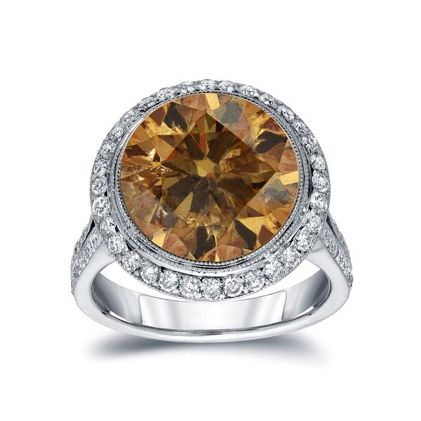 Auriya 14k Gold 7 3/4ct TDW Round-cut Natural Fancy Cognac Diamond Engagement Ring