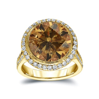 Auriya 14k Gold 7 3/4ct TDW Round-cut Natural Fancy Cognac Diamond Engagement Ring (H-I, I1-I2)