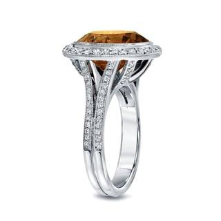 Auriya 14k Gold 7 3/4ct TDW Round-cut Natural Fancy Cognac Diamond Engagement Ring (H-I, I1-I2)