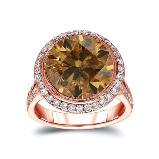 Auriya 14k Gold 7 3/4ct TDW Round-cut Natural Fancy Cognac Diamond Engagement Ring (Option: 4)