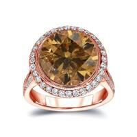 Auriya 14k Gold 7 3/4ct TDW Vintage Fancy Natural Cognac Brown Diamond Halo Engagement Ring