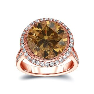Auriya 14k Gold 7 3/4ct TDW Vintage Fancy Natural Cognac Brown Diamond Halo Engagement Ring