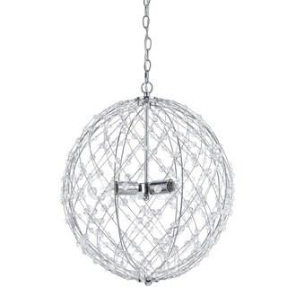 AF Lighting 8285-3H Large Round Silver Web Pendant