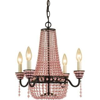 AF Lighting Pink Beads 7002-4H Parlor Mini Chandelier