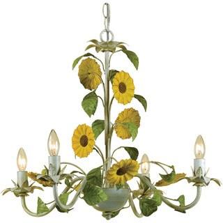 AF Lighting 7048-4H Kansas Sunflowers Chandelier