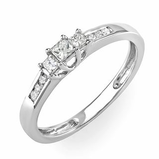 Elora 14k White Gold 1/4ct TDW Round and Princess Diamond 3-stone Engagement Bridal Ring