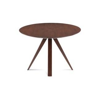 Saloom Nova 42 Round Maple Strata Texture Top Dining Table in Walnut Finish
