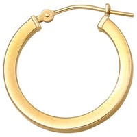 14k Yellow Gold Polished 20 mm Square Tube Hoop