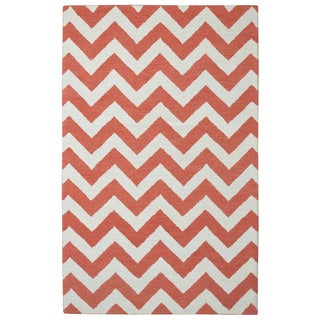 Hand-tufted Moroccan Chevron Orange Wool Rug (5' x 8')