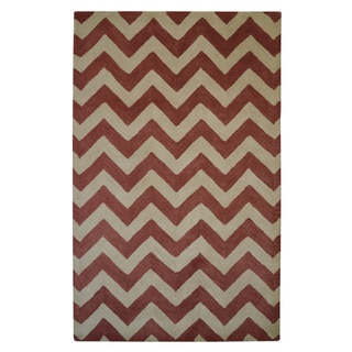 Hand-tufted Moroccan Chevron Pantone Marsala Brick Red/ Rust Wool Rug (5' x 8')
