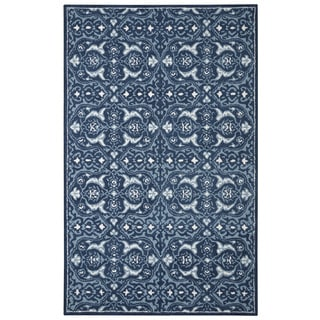 Hand-tufted Modern Marvel Tile Navy Blue Wool Rug (5' x 8')