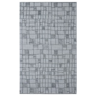 Hand-tufted Modern Marvel Plaids Silver Wool Rug (5' x 8')