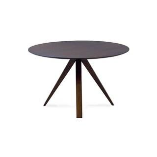 Saloom Nova 48 Round Maple Strata Texture Top Dining Table in Java Finish