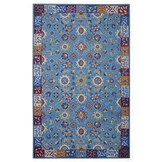 Hand-tufted Modern Marvel Persian Blue Wool Rug (5' x 8')