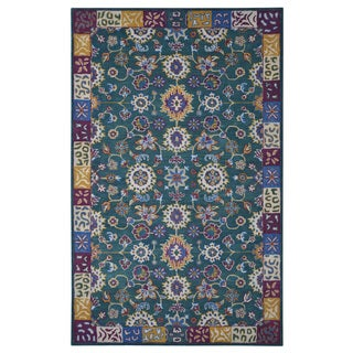 Hand-tufted Modern Marvel Persian Teal Wool Rug (5' x 8')