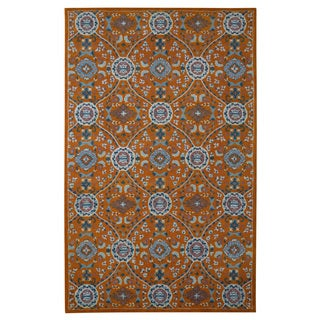 Hand-tufted Modern Marvel Hand-tufted Moroccan Orange Wool Rug (5' x 8')