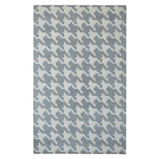 Hand-tufted Modern Marvel Majestic Houndstooth Grey Wool Rug (5' x 8')