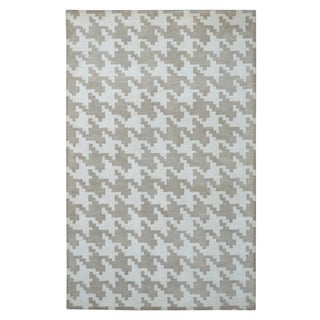 Hand-tufted Modern Marvel Majestic Houndstooth Camel Wool Rug (5' x 8')