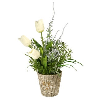White Dutch Tulips in Weathered Oak Look Cement Planter
